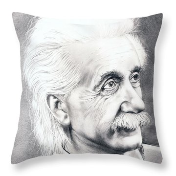 Albert Einstein  Throw Pillow by Murphy Elliott