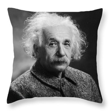 Albert Einstein Throw Pillow by Oren Jack Turner