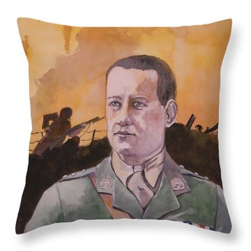 Throw Pillow featuring the painting Albert Jaka Vc by Ray Agius