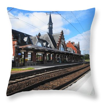 Throw Pillow featuring the photograph Albert Train Station, France by Therese Alcorn