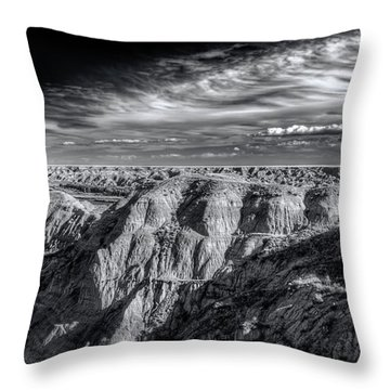 Throw Pillow featuring the photograph Alberta Badlands by Wayne Sherriff