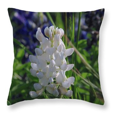 Albino Bluebonnet Throw Pillow by Robyn Stacey