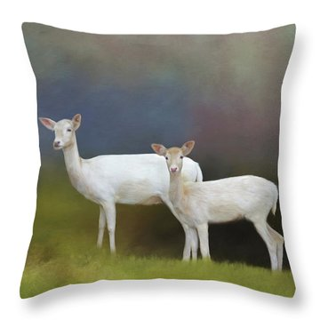 Albino Deer Throw Pillow by Marion Johnson