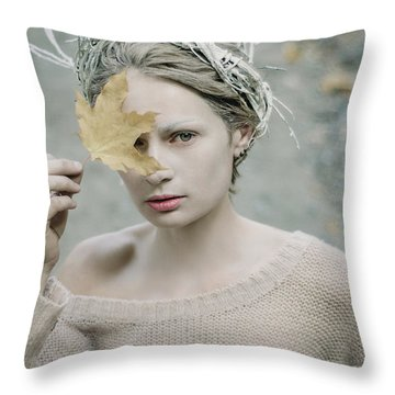 Albino In Forest. Prickle Tenderness Throw Pillow