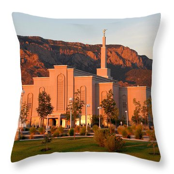 Albuquerque Lds Temple At Sunset 1 Throw Pillow