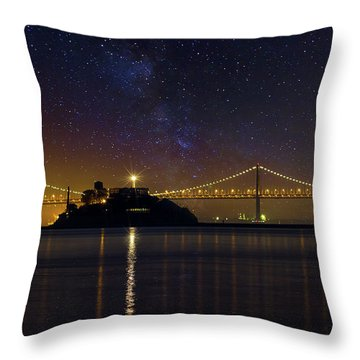 Alcatraz Island Under The Starry Night Sky Throw Pillow by David Gn