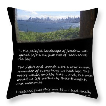 Alcatraz Reality - The Painful Landscape Of Freedom Throw Pillow