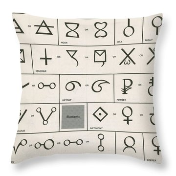 Alchemy Symbols Throw Pillow by Science Source