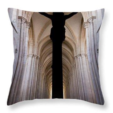 Alcobaca Monastery Church Crucifix Throw Pillow by Jose Elias - Sofia Pereira