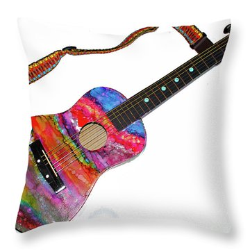 Alcohol Ink Guitar Throw Pillow