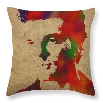 Alden Ehrenreich Watercolor Portrait Throw Pillow