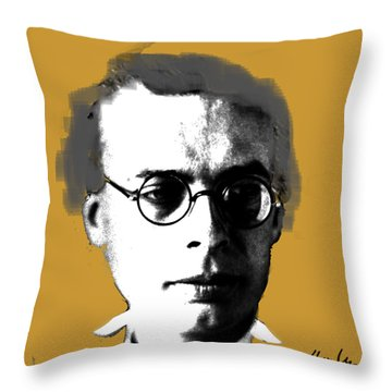 Throw Pillow featuring the digital art Aldous Huxley by Asok Mukhopadhyay