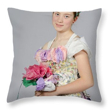 Alegra In Paper Floral Dress Throw Pillow
