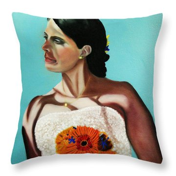 Alena On Her Wedding Day Throw Pillow