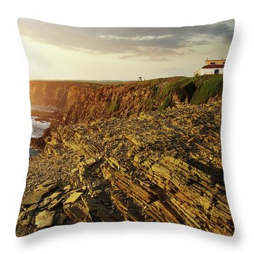 Throw Pillow featuring the photograph Alentejo Cliffs by Carlos Caetano
