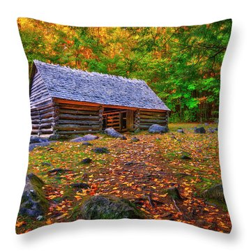 Alex Cole Cabin At Jim Bales Place, Roaring Fork Motor Trail In The Smoky Mountains Tennessee Throw Pillow
