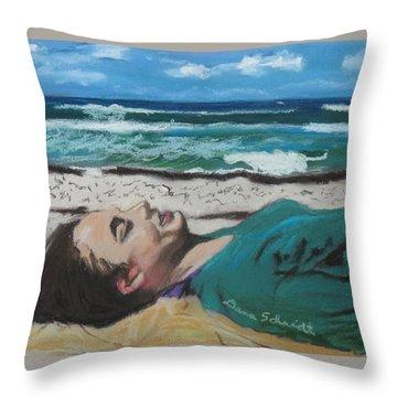 Granddaughter Alex At A Gulf Coast Beach, Florida Throw Pillow