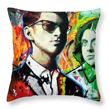 Throw Pillow featuring the painting Alex Turner by Richard Day
