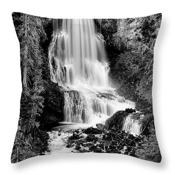 Throw Pillow featuring the photograph Alexander Falls - Bw 2 by Stephen Stookey
