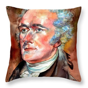 Alexander Hamilton Watercolor Throw Pillow