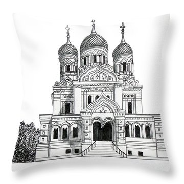 Alexander Nevsky Cathedral Throw Pillow by Frederic Kohli