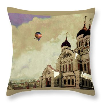 Throw Pillow featuring the digital art Alexander Nevsky Cathedral In Tallin, Estonia, My Memory. by Jeff Burgess