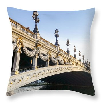 Alexandre IIi Bridge In Paris France Early Morning Throw Pillow