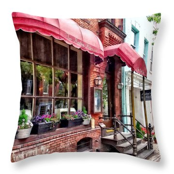 Alexandria Va - Red Awnings On King Street Throw Pillow