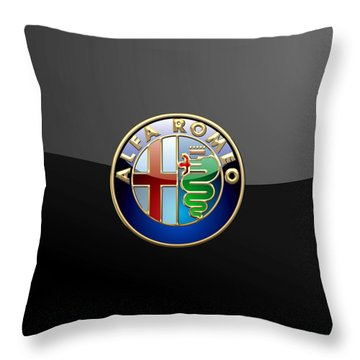 Alfa Romeo - 3 D Badge On Black Throw Pillow by Serge Averbukh