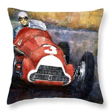Alfa Romeo158 British Gp 1950 Luigi Fagioli Throw Pillow by Yuriy  Shevchuk