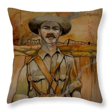 Throw Pillow featuring the painting Alfred Shout Vc by Ray Agius