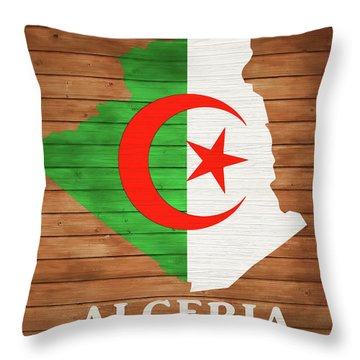 Algeria Rustic Map On Wood Throw Pillow