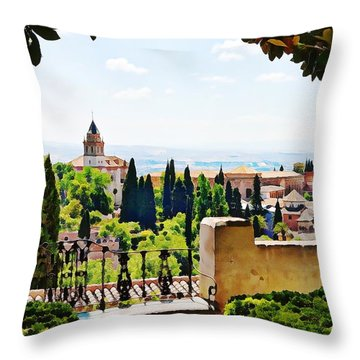 Alhambra Gardens, Digital Paint Throw Pillow