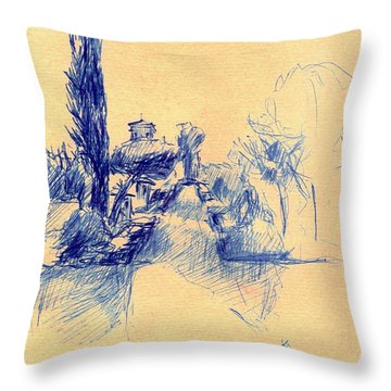 Alhambra Sketch / Granada Throw Pillow