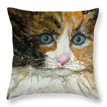 Throw Pillow featuring the painting Ali Cat 1 by Lynn Babineau