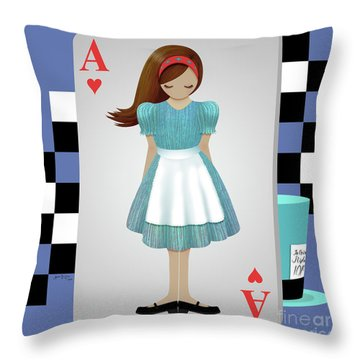 Alice 3d Flying Cards Throw Pillow by Audra Lemke