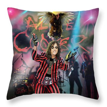 Alice Cooper Throw Pillow by Don Olea