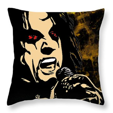Alice Cooper Illustrated Throw Pillow