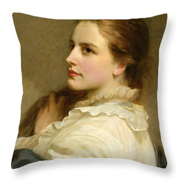 Alice Throw Pillow by Henry Tanworth Wells