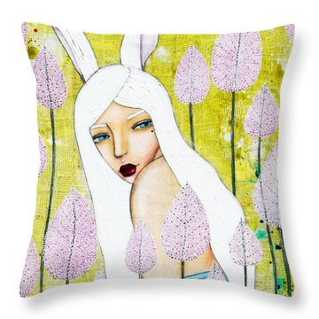 Throw Pillow featuring the mixed media Alice In Oz by Natalie Briney