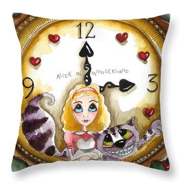 Alice In Wonderland Tick Tock Throw Pillow by Lucia Stewart