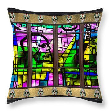 Alice Millar Chapel Skull Art V3 Throw Pillow by Raymond Kunst