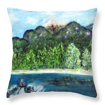 Alice Tubing On Hungry Horse  Reservoir Throw Pillow