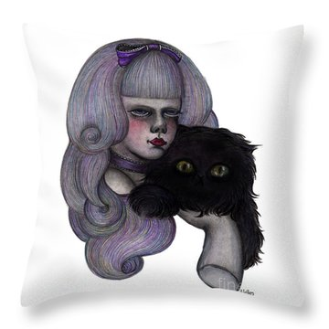 Alice With Black Cat Throw Pillow