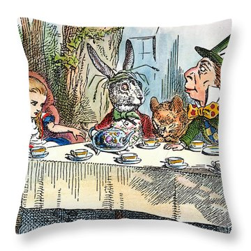 Alices Mad-tea Party, 1865 Throw Pillow