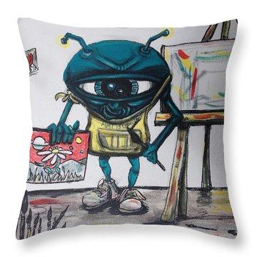 Alien Artist Throw Pillow