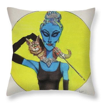 Throw Pillow featuring the painting Alien At Tiffany's by Similar Alien