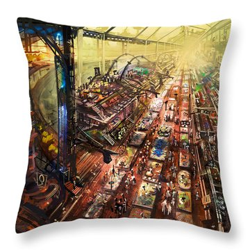 Alien Bazaar Throw Pillow