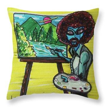 alien Bob Ross Throw Pillow