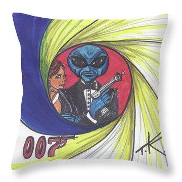 alien Bond Throw Pillow